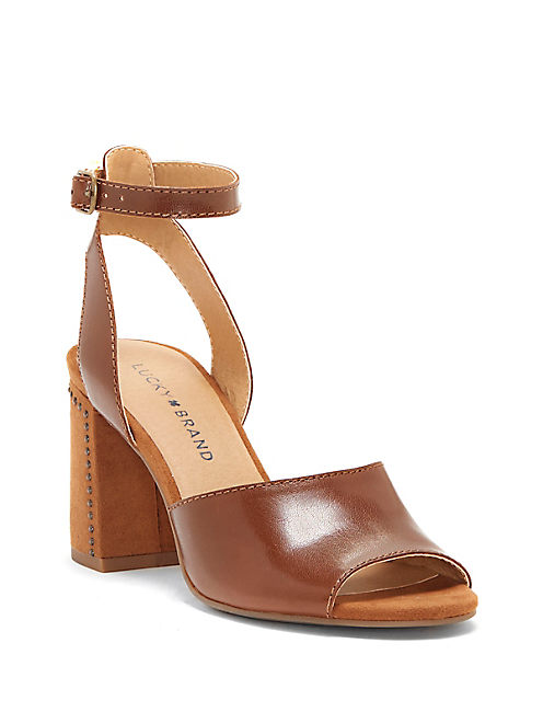 VERLENA HEEL, OPEN BROWN/RUST