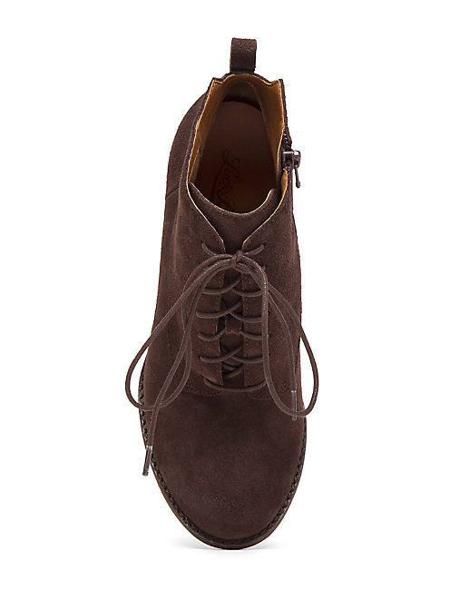 YOANNA LACE UP WEDGE BOOT, TOBACCO SUEDE