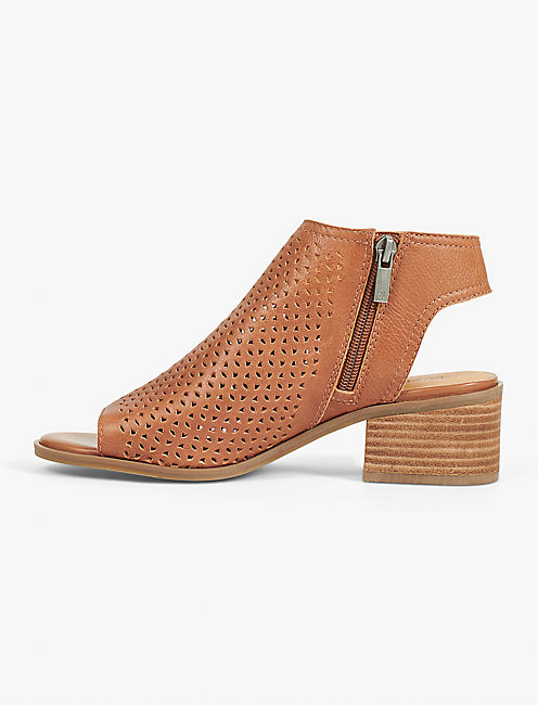 NERELLY OPEN-TOE BOOTIE, RUST BROWN