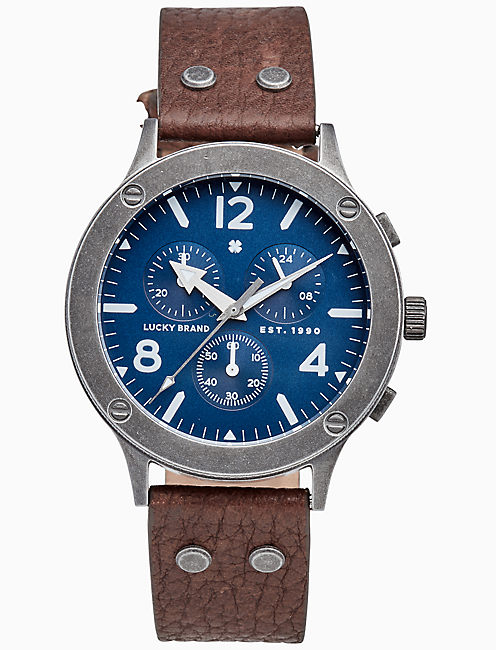 ROCKPOINT MULTI-FUNCTION BROWN LEATHER WATCH, 42MM,