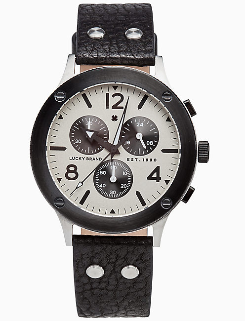 ROCKPOINT MULTI-FUNCTION BLACK LEATHER WATCH, 42MM,