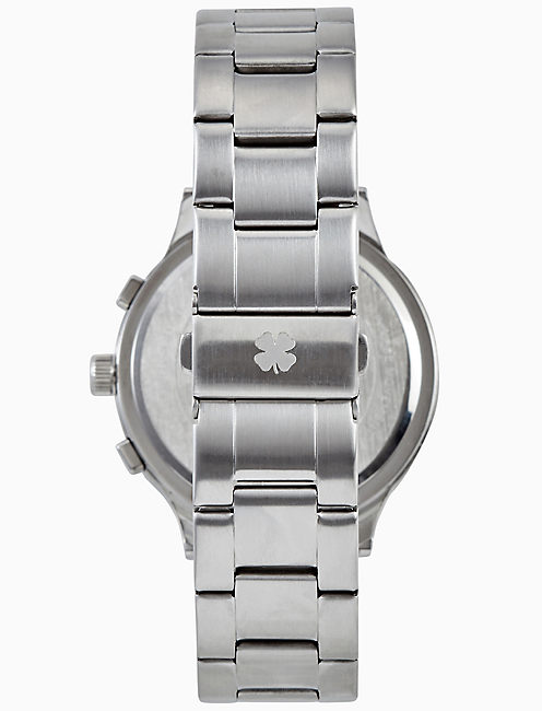 ROCKPOINT SILVER MULTI-FUNCTION BRACELET WATCH, 42MM,