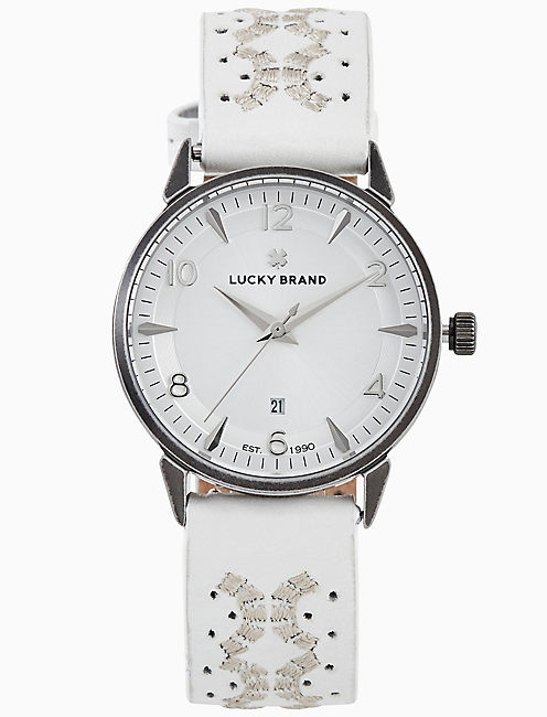 TORREY WHITE EMBROIDERED WATCH, 34MM,