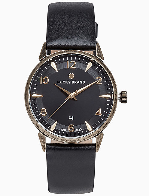 TORREY BLACK LEATHER WATCH, 34MM,