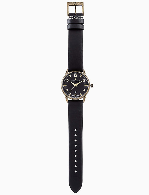 Lucky Torrey Black Leather Watch, 34mm