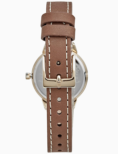 TORREY MINI BROWN LEATHER WATCH, 28MM,