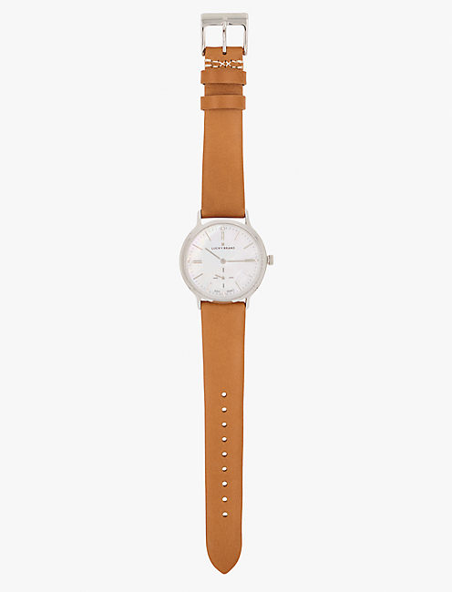 VENTANA TAN LEATHER WATCH, 34MM, SILVER