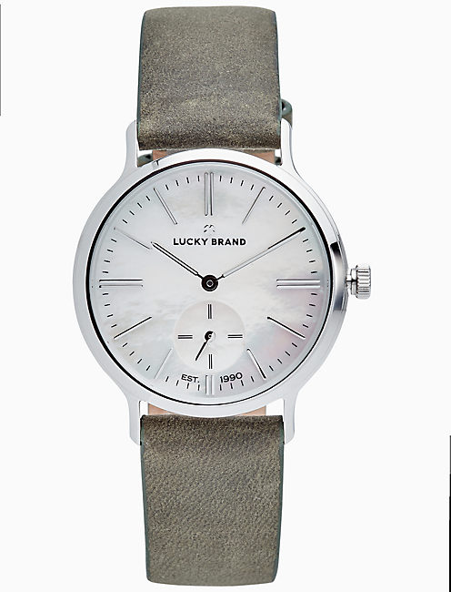 VENTANA OLIVE LEATHER WATCH, 34MM, SILVER