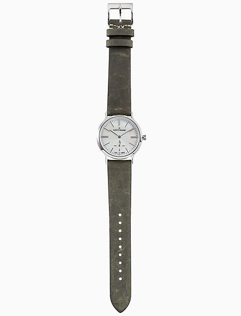 Lucky Ventana Olive Leather Watch, 34mm