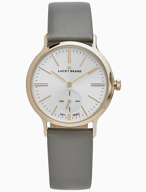 VENTANA GREY LEATHER WATCH, 34MM,
