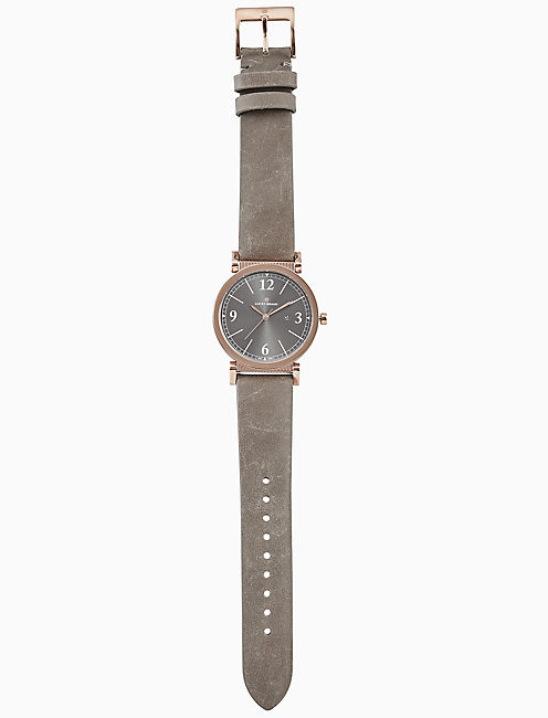 CARMEL TAUPE LEATHER WATCH, 34MM,