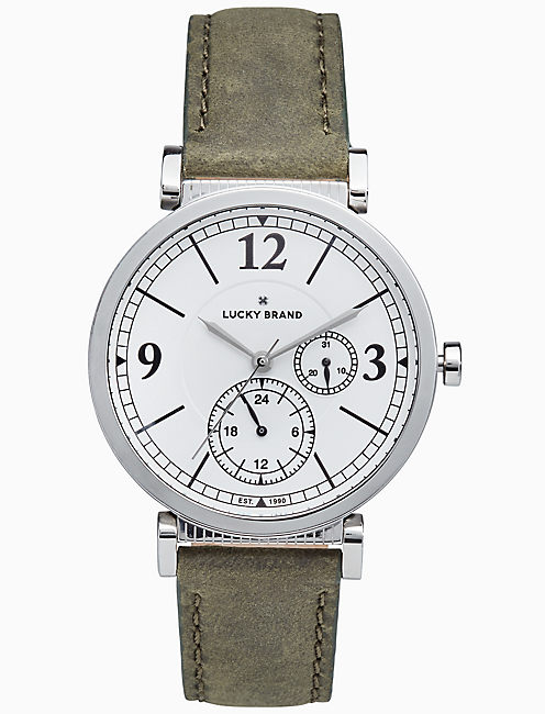 CARMEL BOYFRIEND OLIVE LEATHER WATCH, 38MM,