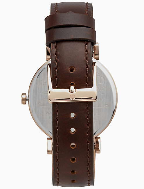 CARMEL BOYFRIEND CHOCOLATE LEATHER WATCH, 38MM,