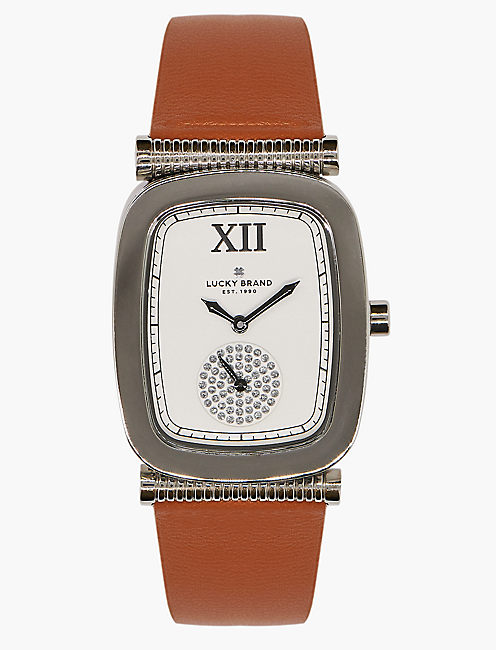 Laurel Tan Leather Watch, SILVER