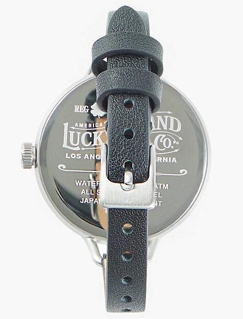 Indio Subeye Black Leather Watch, SILVER