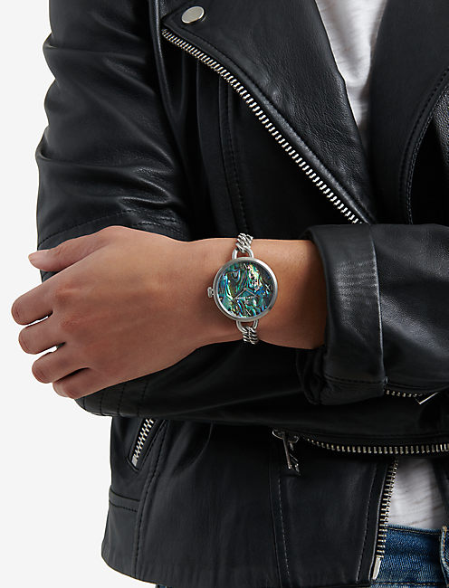 INDIO ABALONE CHAIN WATCH, 36mm, SILVER