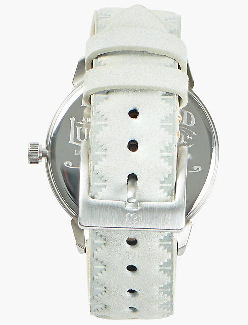 Torrey Light Blue Suede Watch, SILVER