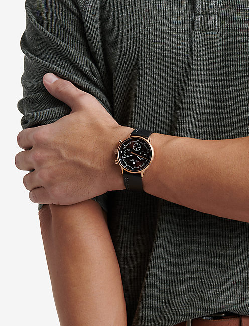 Fairfax Multi Black Leather Watch
