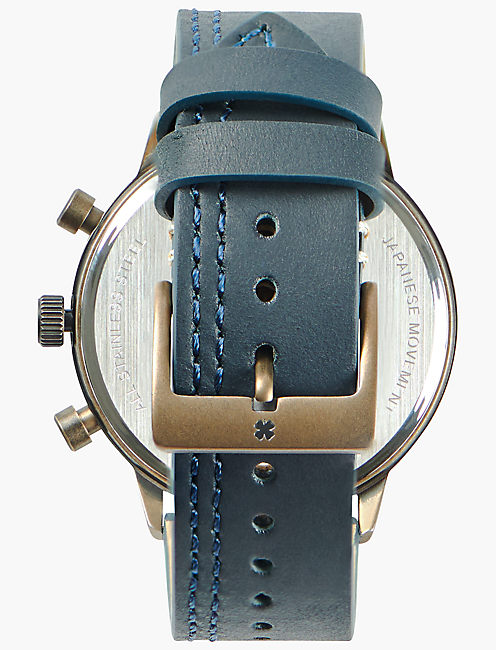 Fairfax Multi Navy Leather Watch, GOLD