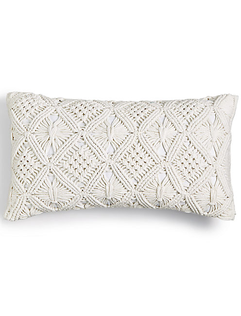 12X20 MACRAME DECORATIVE PILLOW, OPEN WHITE/NATURAL