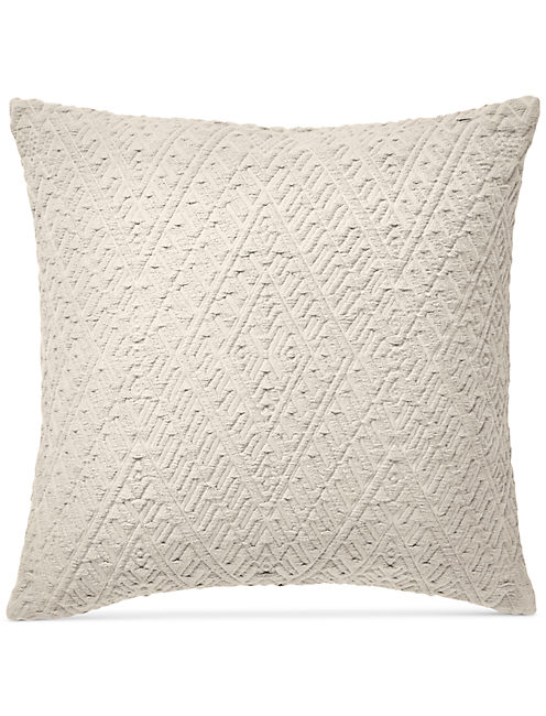 18X18 DIAMOND MATELASSE PILLOW, OPEN WHITE/NATURAL