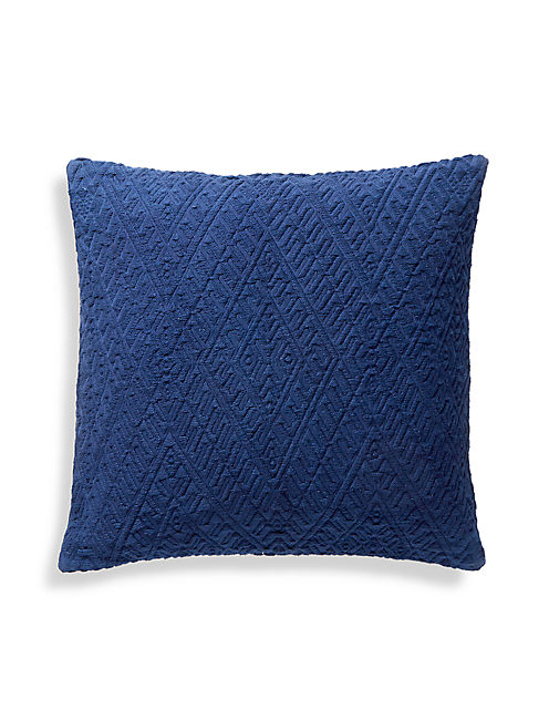 18X18 DIAMOND MATELASSE PILLOW, MEDIUM LIGHT BLUE