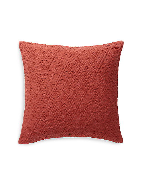18X18 DIAMOND MATELASSE PILLOW, DARK ORANGE