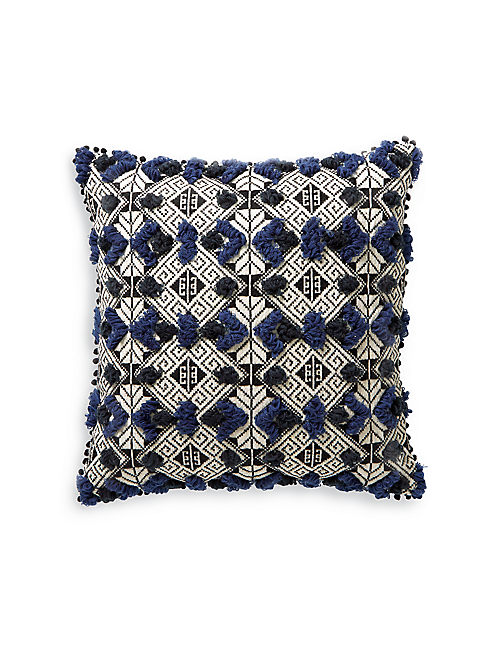20X20 JACQUARD TUFT PILLOW, BLUE MULTI