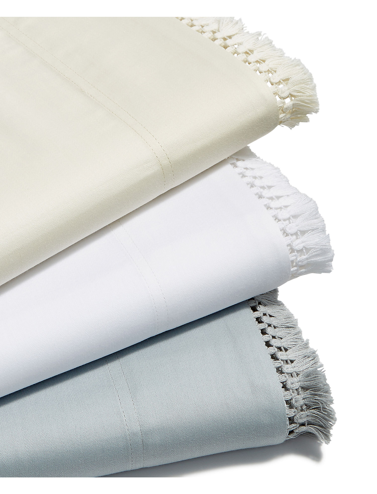 Fringe White Queen Sheet Set | Tuggl