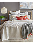 VINTAGE WASH STONE IVORY KING COVERLET, OPEN WHITE/NATURAL