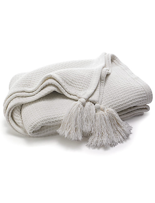 WAFFLE TASSEL THROW, OPEN WHITE/NATURAL
