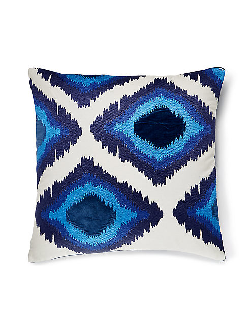 20X20 EMBROIDERED IKAT PILLOW, MEDIUM LIGHT BLUE