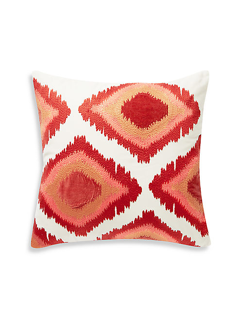 20X20 EMBROIDERED IKAT PILLOW, DARK ORANGE