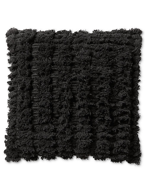 18X18 SHAGGY DECORATIVE BLACK PILLOW,