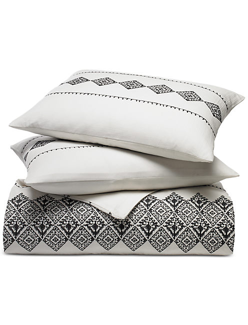Lucky Embroidered Ikat Duvet Set