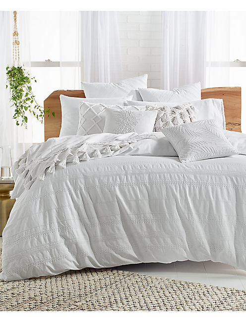 STRIPE EMBROIDERED COMFORTER SET, NATURAL