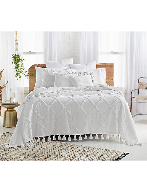 DIAMOND TUFT BED COVER, NATURAL
