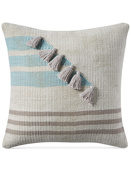 18X18 STRIPE TASSLE DECORATIVE PILLOW, RINSE