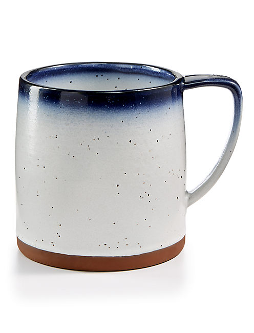 BLUE EDGE MUG, WHITE W/ BLUE EDGE