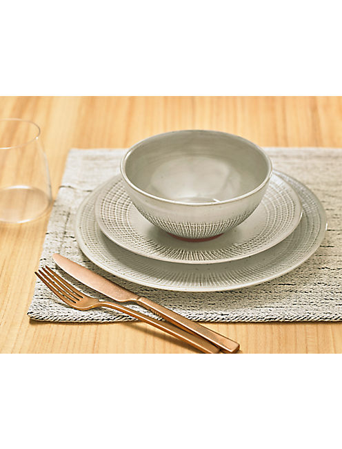WOVEN 12PC DINNER SET, IVORY/TAN