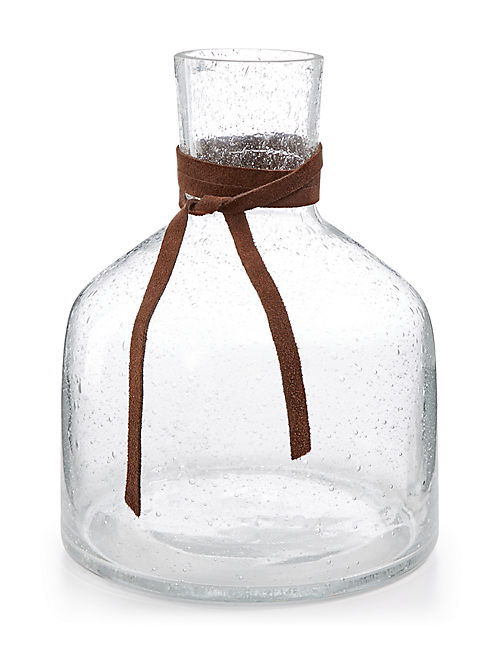 SHORT BUBBLE GLASS VASE,