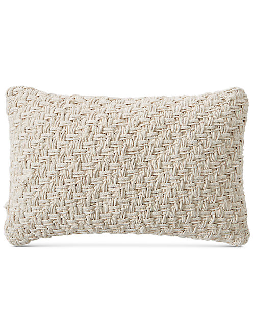 16X24 BASKET EMBROIDERED DECORATIVE PILLOW, DARK BEIGE