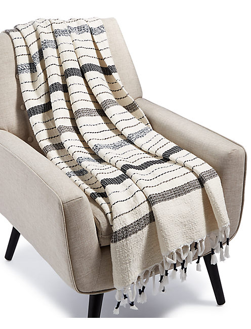 MINGLED YARN DYE THROW, NATURAL
