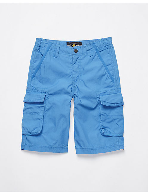DUA POPLIN CARGO SHORT, METALLIC BLUE