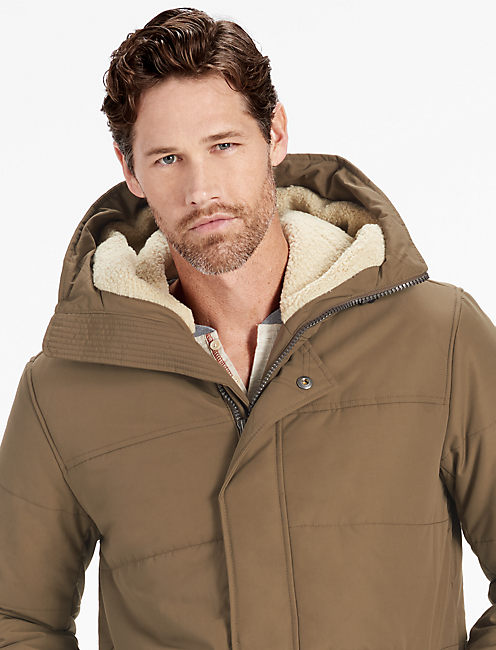 SHERPA HOODED PUFFY JACKET,