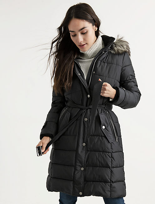 LONG PUFFER COAT, 001 LUCKY BLACK