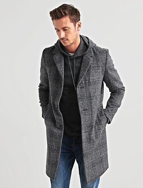 Wool Blend Plaid Car Coat,