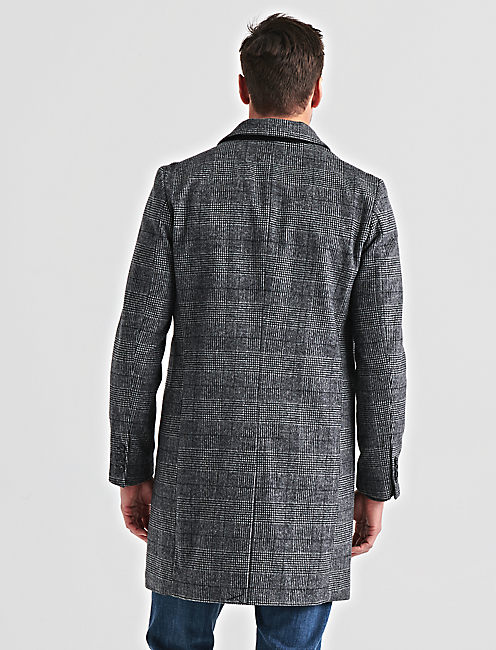 Wool Blend Plaid Car Coat, GREY MULTI