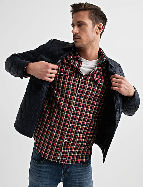 DIAMOND QUILTED SHIRT JACKET, #437 NAVY
