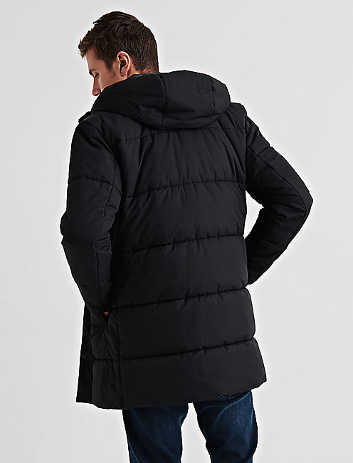 HOODED PUFFER JACKET, #001 BLACK